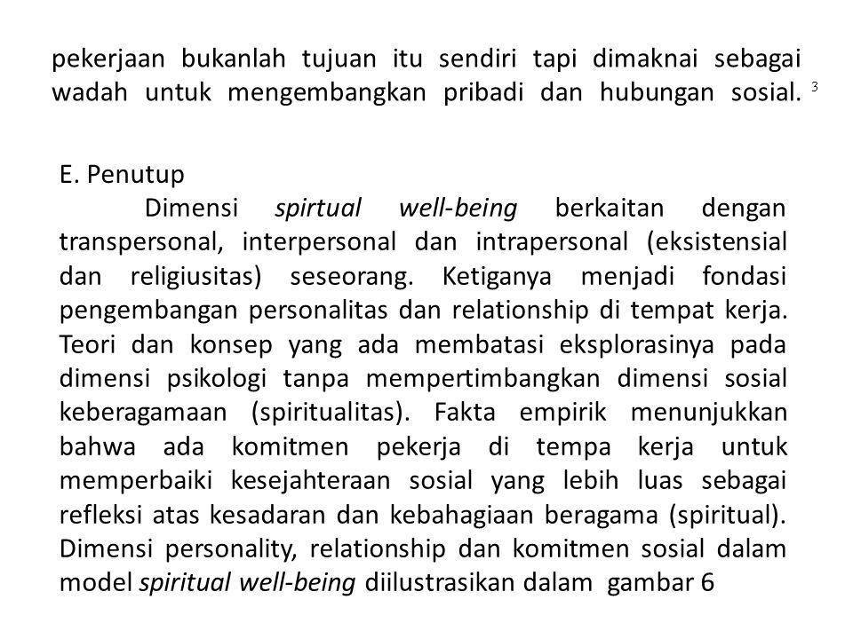 pekerjaan bukanlah tujuan itu sendiri tapi dimaknai sebagai wadah untuk mengembangkan pribadi dan hubungan sosial.