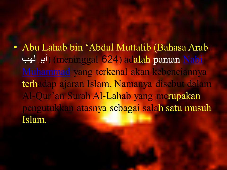 Abu Lahab bin 'Abdul Muttalib (Bahasa Arab: أبو لهب) (meninggal 624) adalah paman Nabi Muhammad yang terkenal akan kebenciannya terhadap ajaran Islam.
