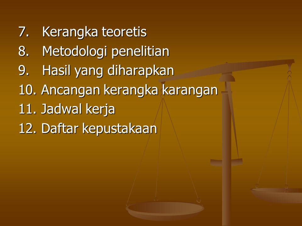 7. Kerangka teoretis 8. Metodologi penelitian. 9. Hasil yang diharapkan. 10. Ancangan kerangka karangan.
