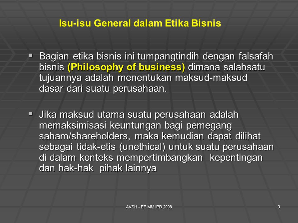 Isu-isu General dalam Etika Bisnis