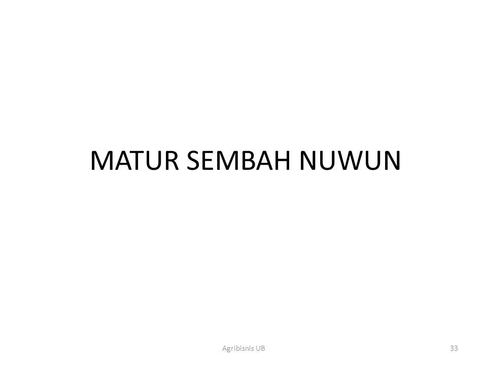 MATUR SEMBAH NUWUN Agribisnis UB