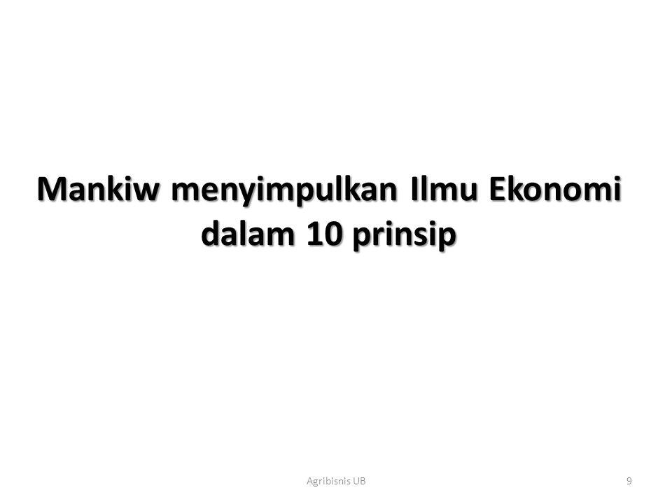 Mankiw menyimpulkan Ilmu Ekonomi dalam 10 prinsip
