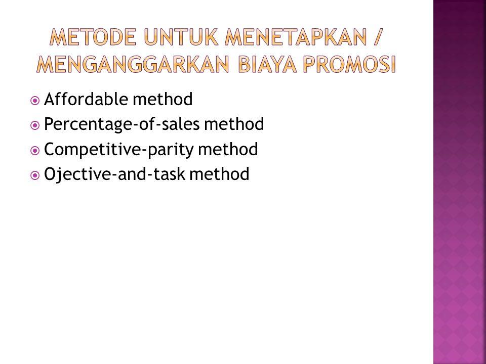 Metode untuk menetapkan / menganggarkan biaya promosi