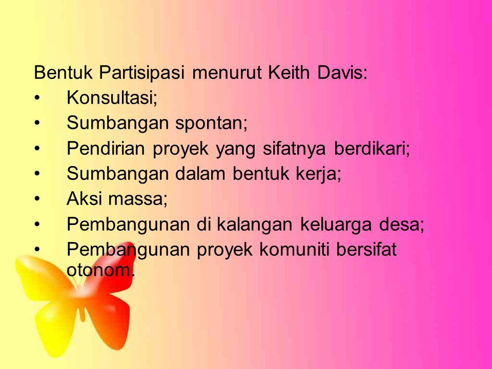 Bentuk Partisipasi menurut Keith Davis: