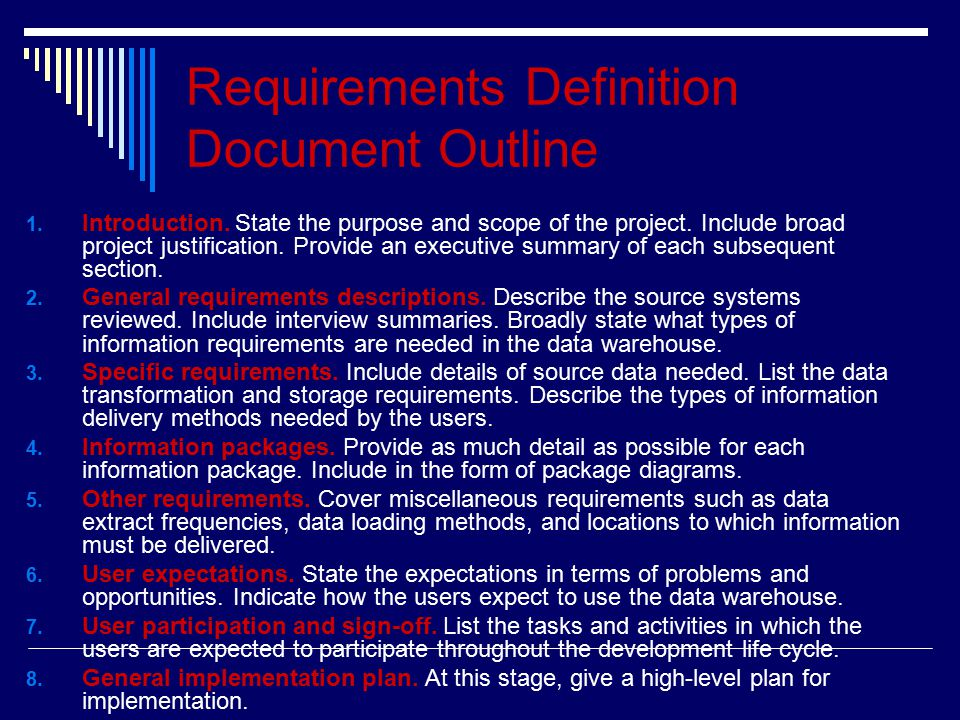 Requirements Definition Document Outline