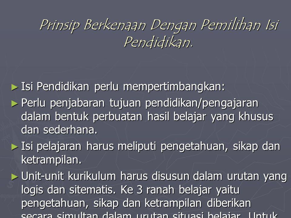 Prinsip Berkenaan Dengan Pemilihan Isi Pendidikan.