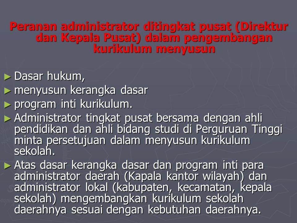 Peranan administrator ditingkat pusat (Direktur dan Kepala Pusat) dalam pengembangan kurikulum menyusun