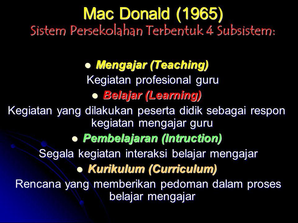 Mac Donald (1965) Sistem Persekolahan Terbentuk 4 Subsistem: