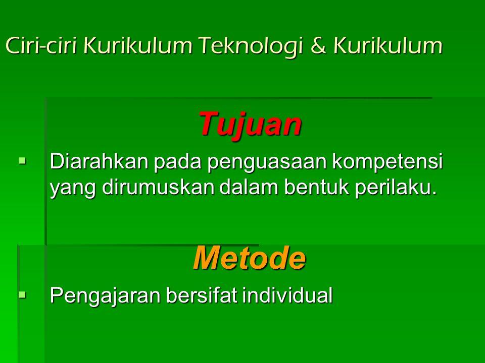 Ciri-ciri Kurikulum Teknologi & Kurikulum