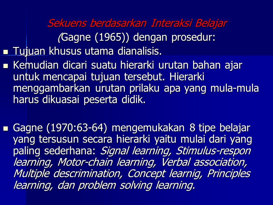 Sekuens berdasarkan Interaksi Belajar (Gagne (1965)) dengan prosedur:
