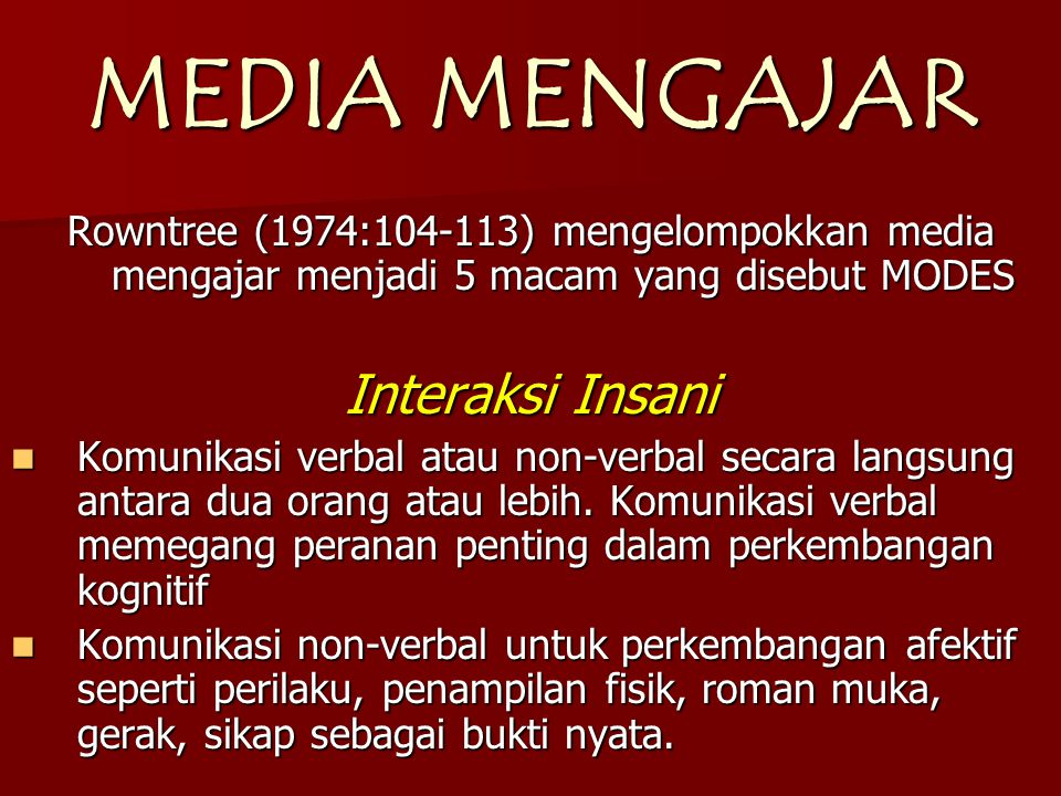 MEDIA MENGAJAR Interaksi Insani