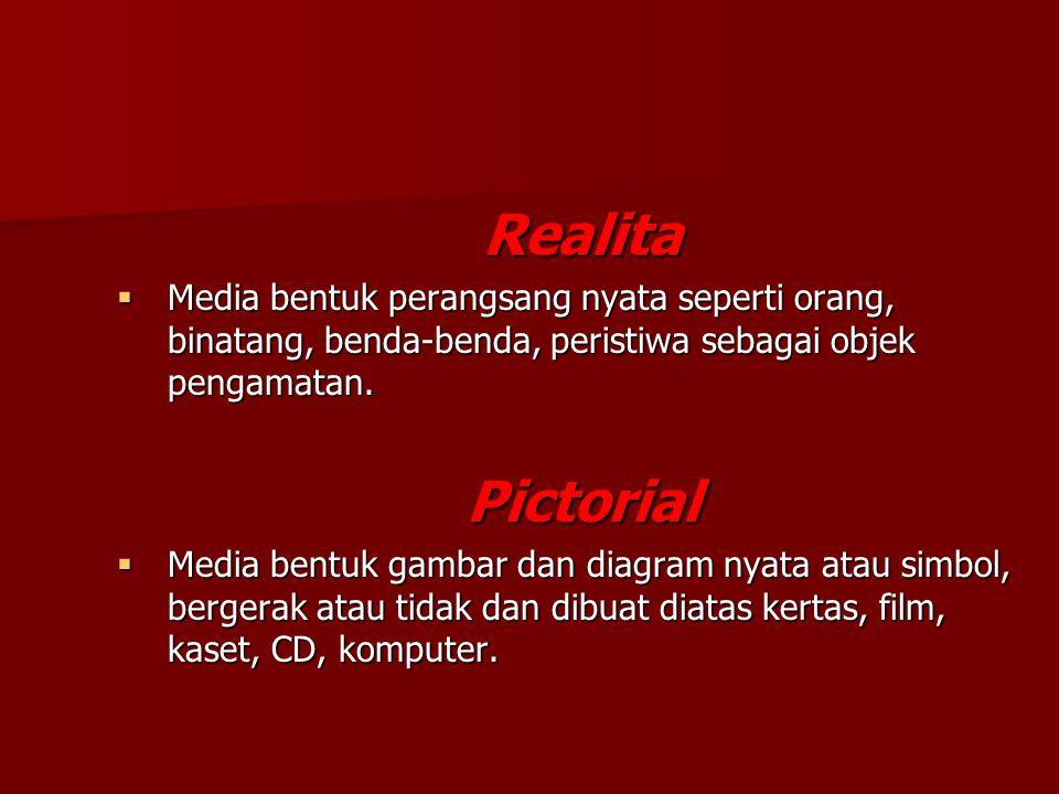 Realita Media bentuk perangsang nyata seperti orang, binatang, benda-benda, peristiwa sebagai objek pengamatan.