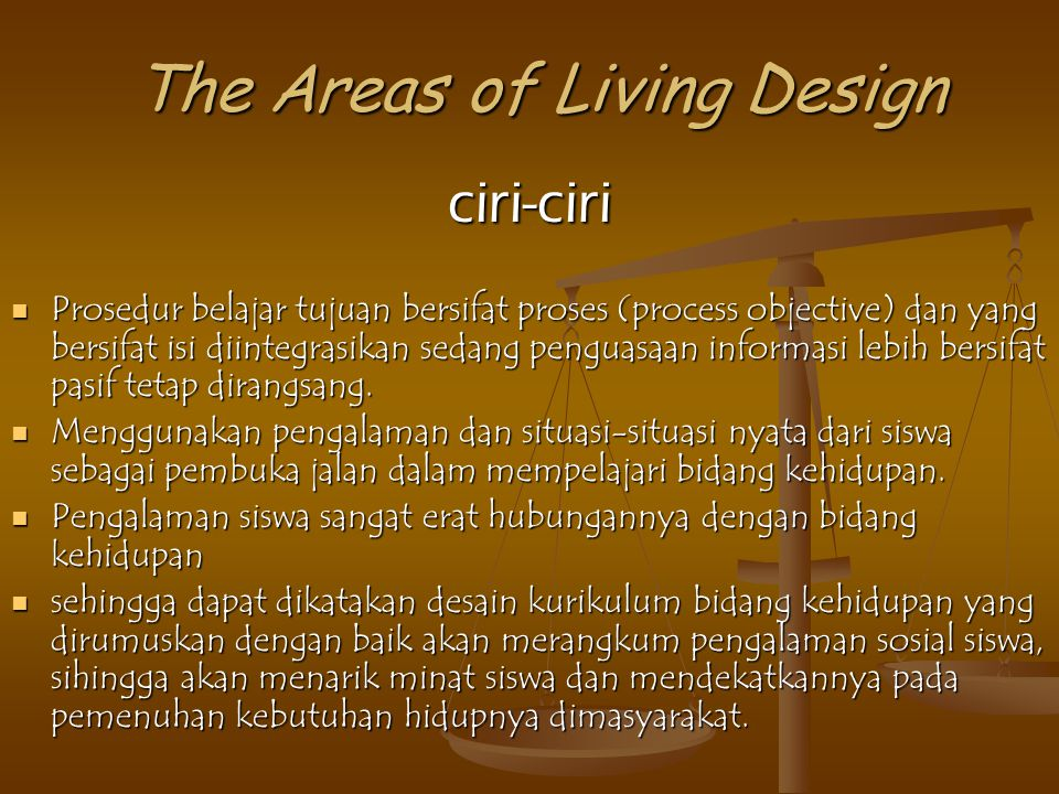 The Areas of Living Design