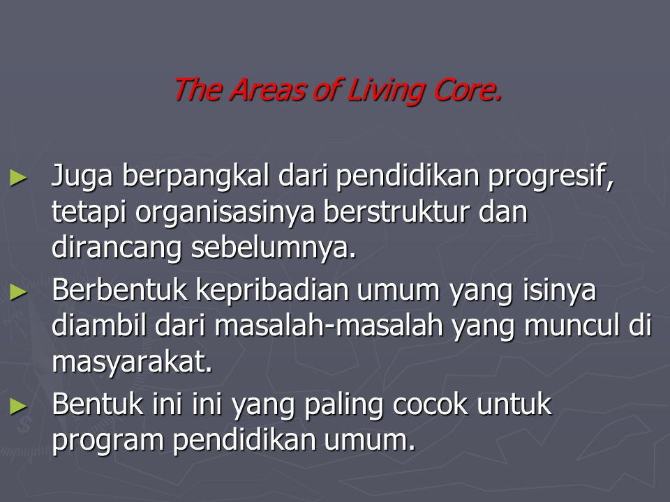 The Areas of Living Core.