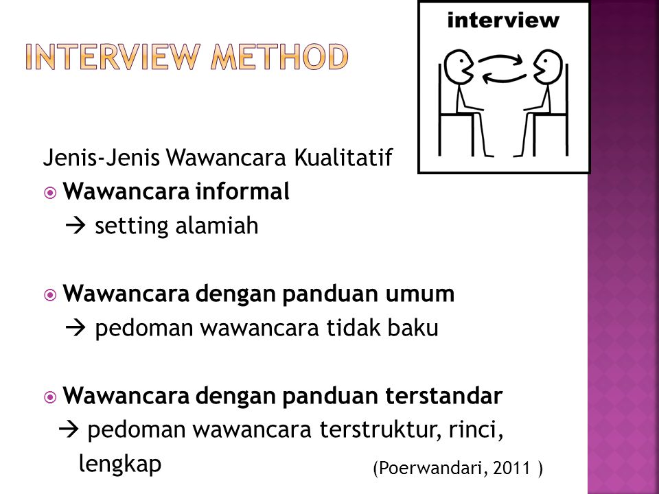 interview Method Jenis-Jenis Wawancara Kualitatif Wawancara informal