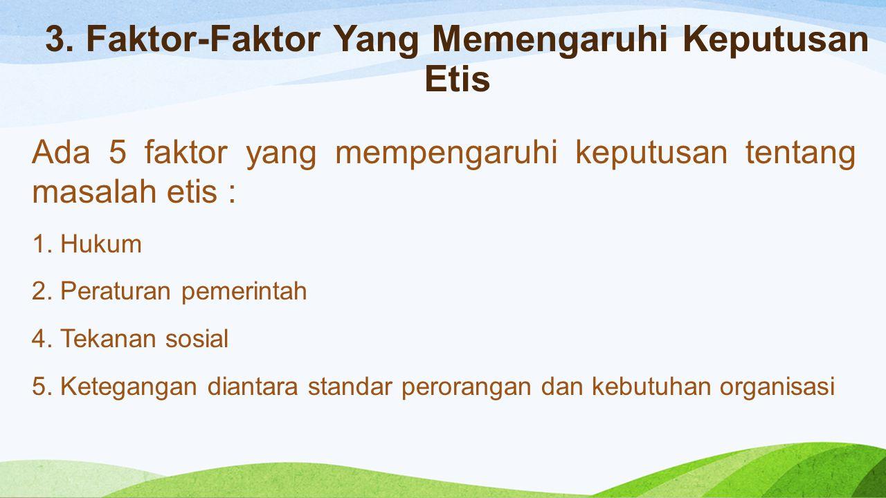 3. Faktor-Faktor Yang Memengaruhi Keputusan Etis