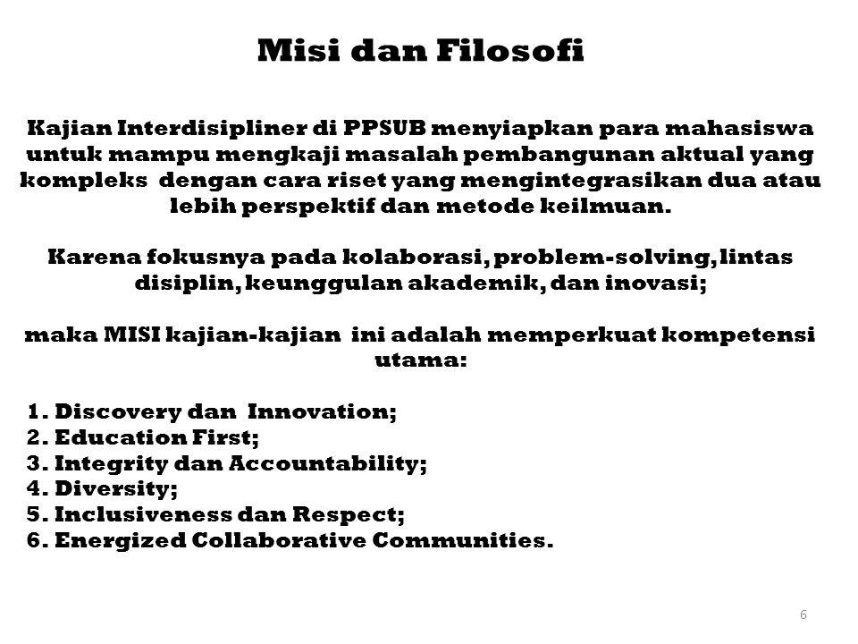 maka MISI kajian-kajian ini adalah memperkuat kompetensi utama: