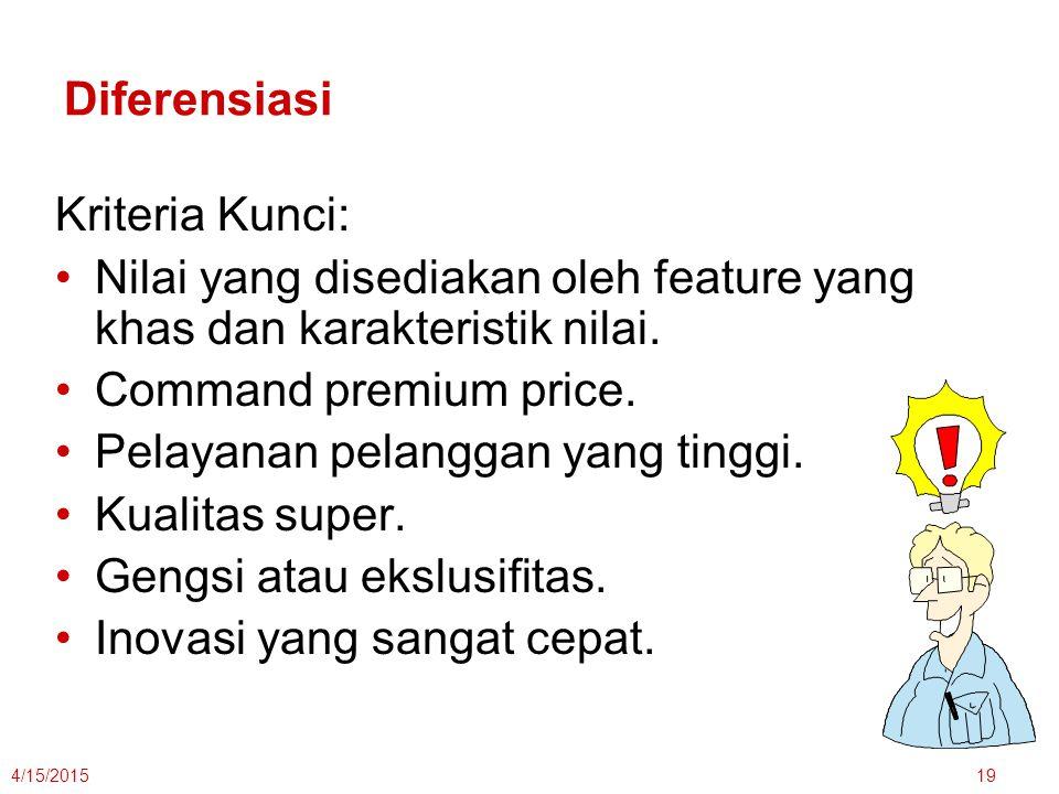 Nilai yang disediakan oleh feature yang khas dan karakteristik nilai.