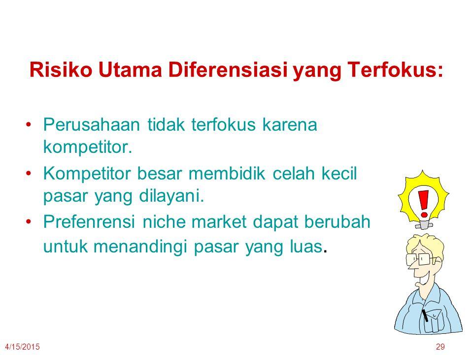 Risiko Utama Diferensiasi yang Terfokus: