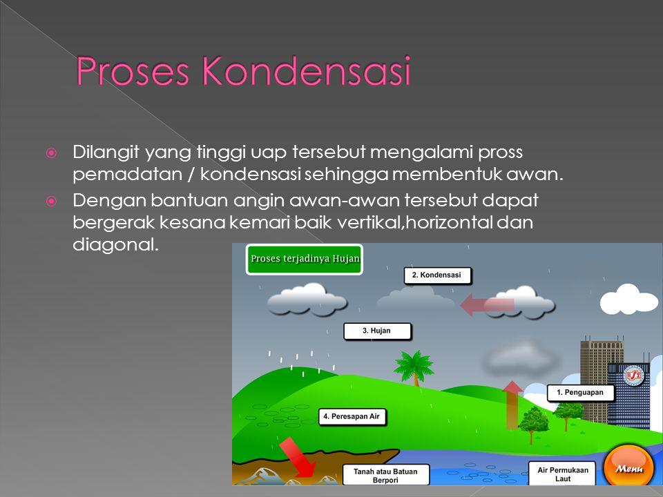 Proses Kondensasi Dilangit yang tinggi uap tersebut mengalami pross pemadatan / kondensasi sehingga membentuk awan.