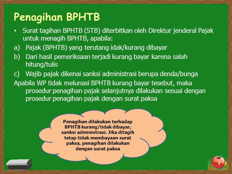 Penagihan BPHTB Surat tagihan BPHTB (STB) diterbitkan oleh Direktur jenderal Pajak untuk menagih BPHTB, apabila: