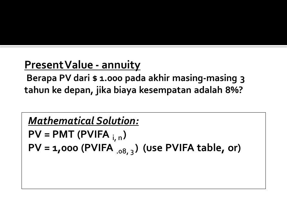 Present Value - annuity Berapa PV dari $ 1