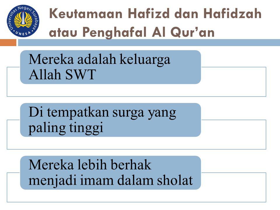 Keutamaan Hafizd dan Hafidzah atau Penghafal Al Qur'an