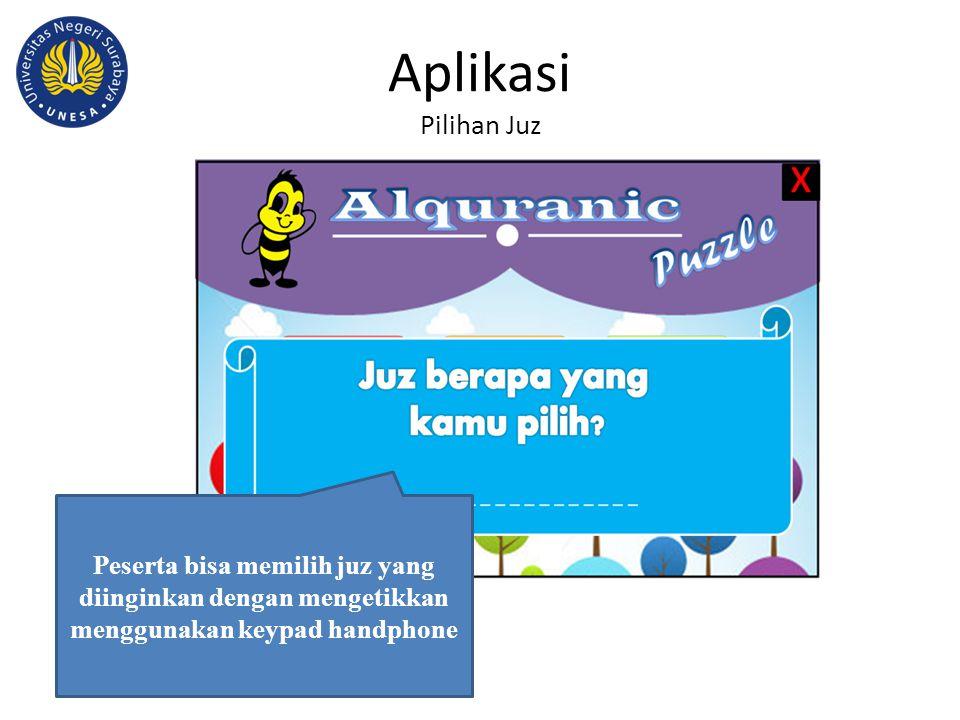 Aplikasi Pilihan Juz Peserta bisa memilih juz yang diinginkan dengan mengetikkan menggunakan keypad handphone.