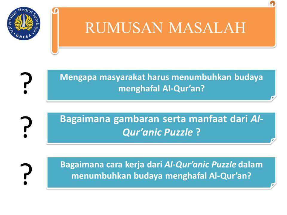 RUMUSAN MASALAH Mengapa masyarakat harus menumbuhkan budaya menghafal Al-Qur'an Bagaimana gambaran serta manfaat dari Al-Qur'anic Puzzle