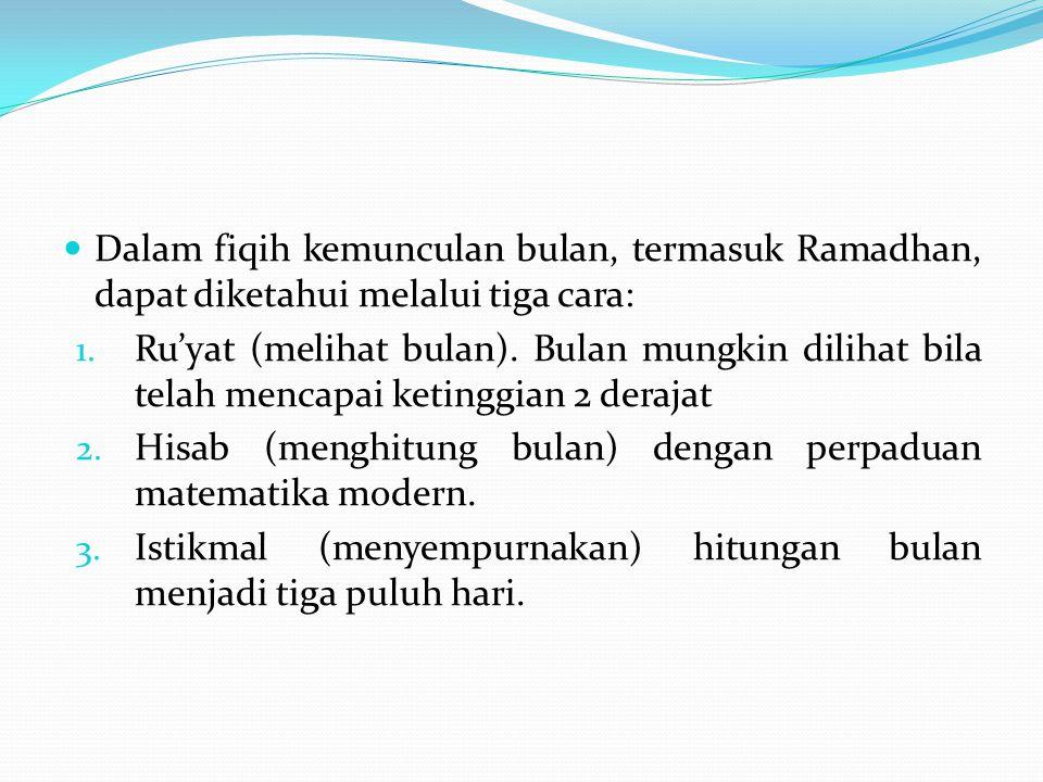 Dalam fiqih kemunculan bulan, termasuk Ramadhan, dapat diketahui melalui tiga cara: