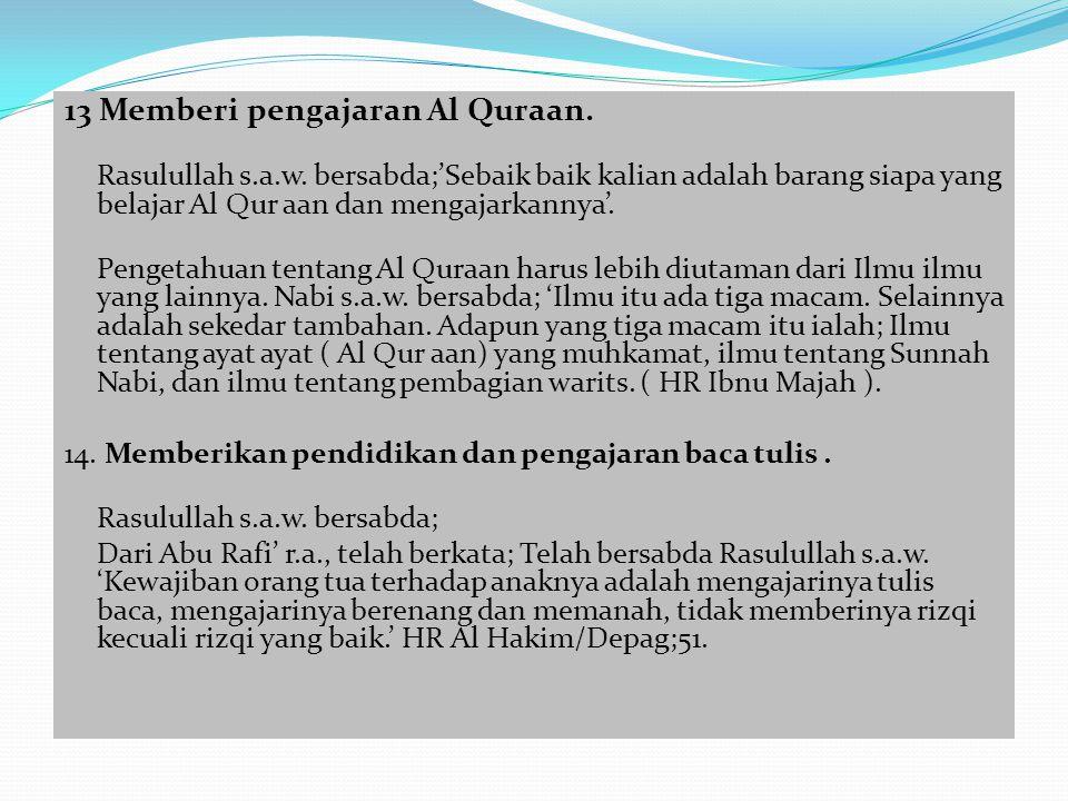 13 Memberi pengajaran Al Quraan.