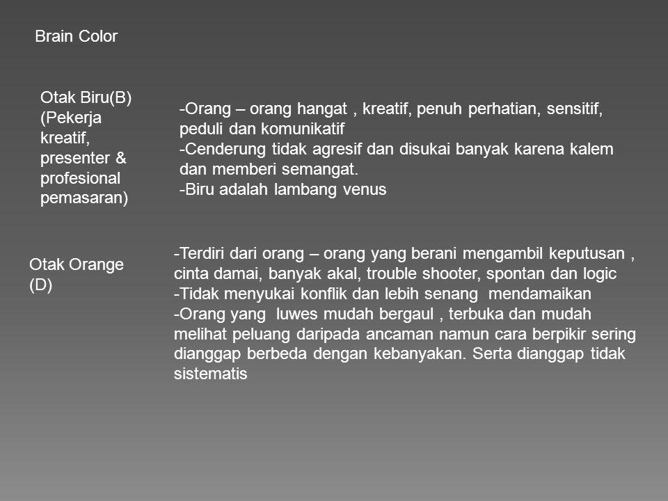 Brain Color Otak Biru(B) (Pekerja kreatif, presenter & profesional pemasaran)