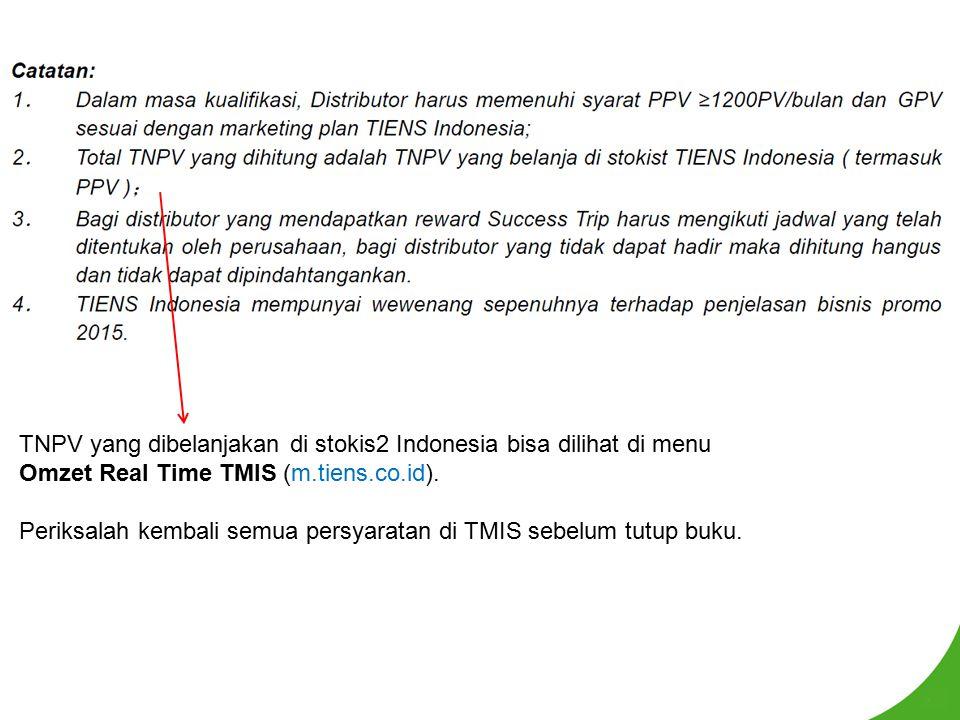 TNPV yang dibelanjakan di stokis2 Indonesia bisa dilihat di menu