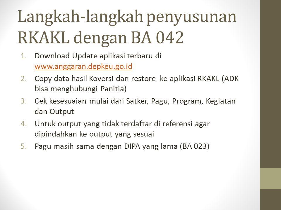 Langkah-langkah penyusunan RKAKL dengan BA 042
