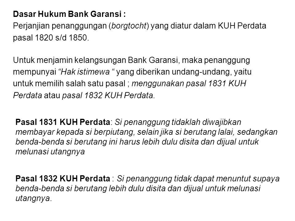 Dasar Hukum Bank Garansi :