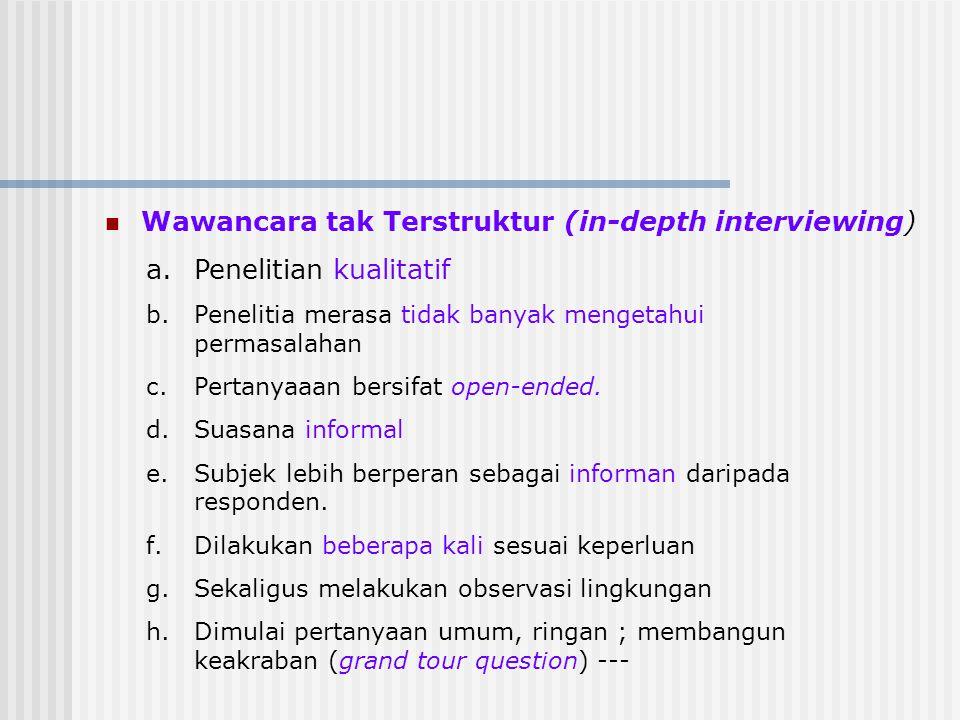Wawancara tak Terstruktur (in-depth interviewing)