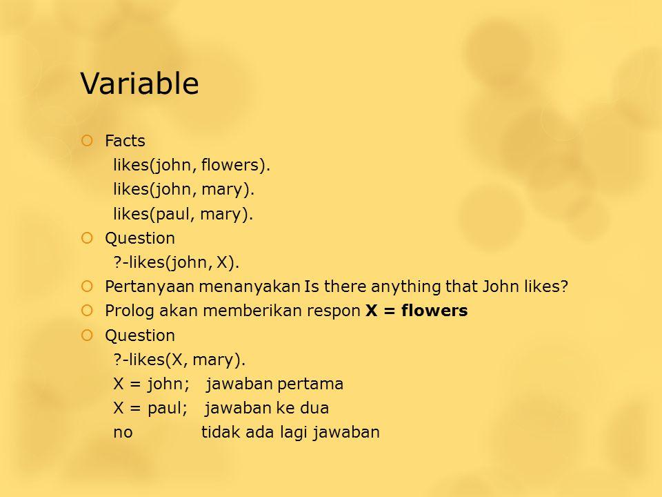 Variable Facts likes(john, flowers). likes(john, mary).