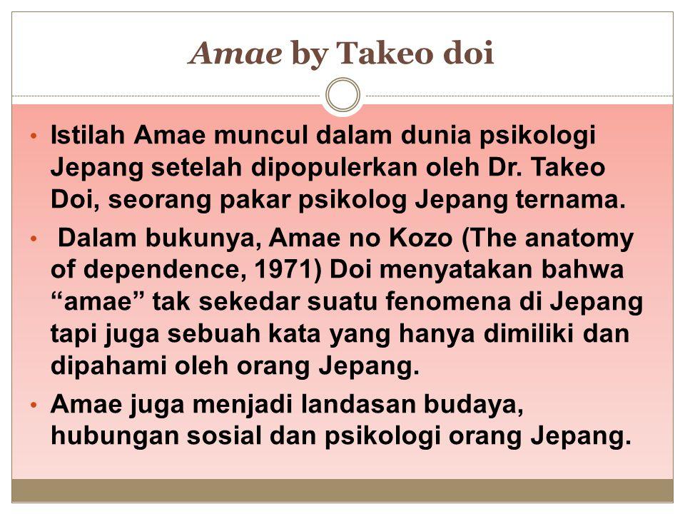 Amae by Takeo doi Istilah Amae muncul dalam dunia psikologi Jepang setelah dipopulerkan oleh Dr. Takeo Doi, seorang pakar psikolog Jepang ternama.