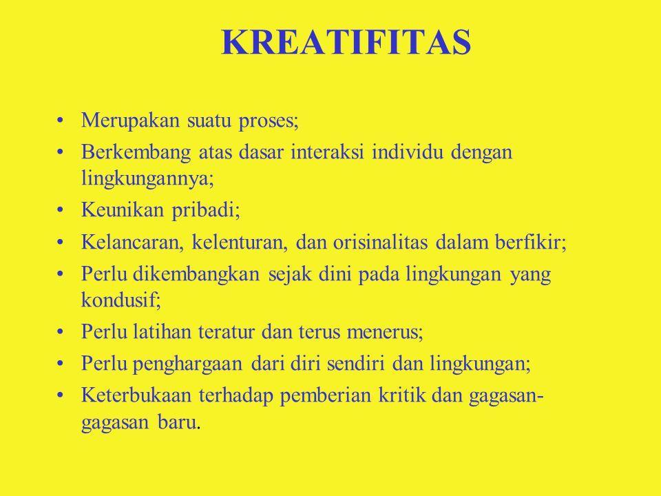 KREATIFITAS Merupakan suatu proses;