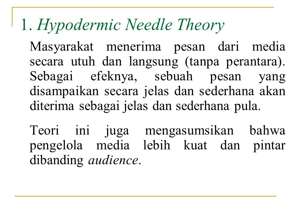 hypodermic needle theory The hypodermic needle theory is also known as hypodermic -syringe model of communications and referred to as the magic bullet according to katz and lazarfeld (1955), the model is rooted in 1930s behaviorism and is concerned by many to be obsolete today.