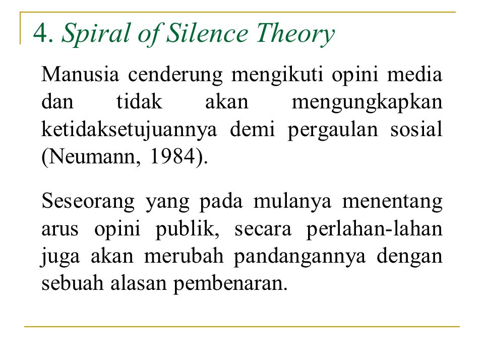 4. Spiral of Silence Theory