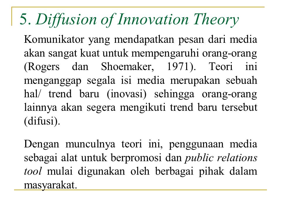 5. Diffusion of Innovation Theory