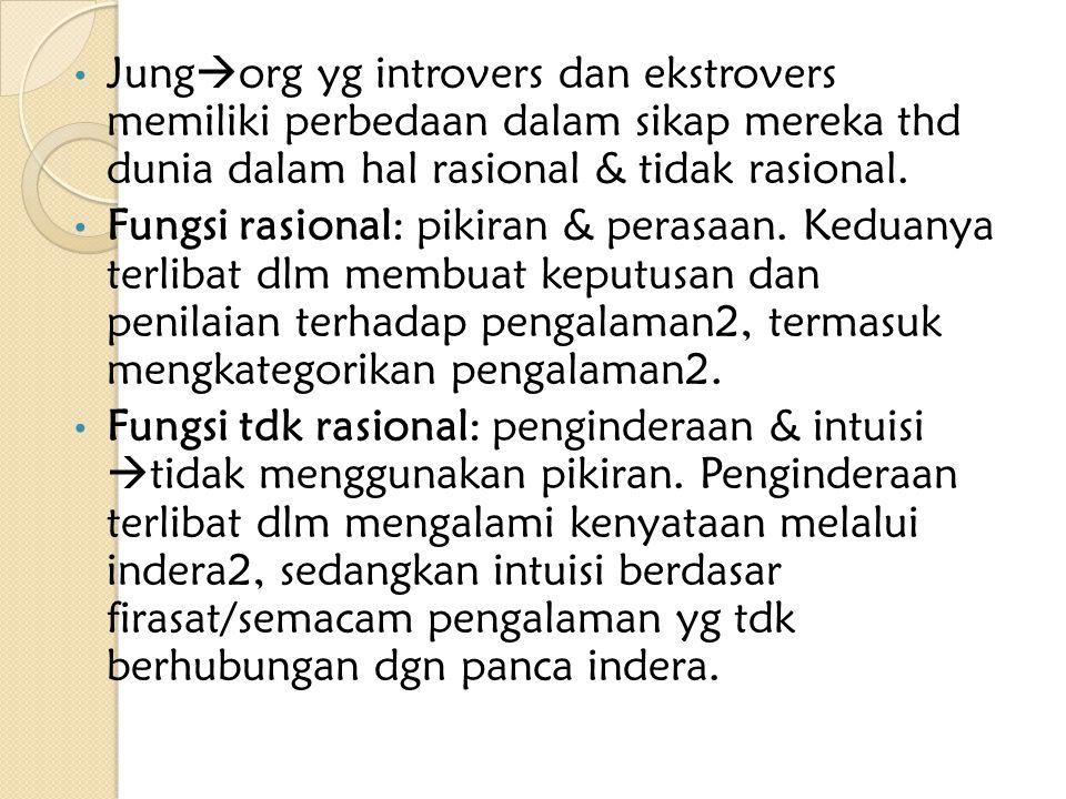 Jungorg yg introvers dan ekstrovers memiliki perbedaan dalam sikap mereka thd dunia dalam hal rasional & tidak rasional.