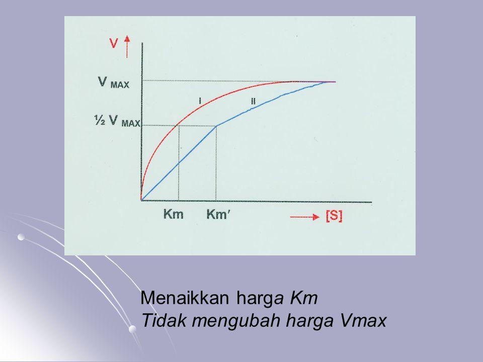 Menaikkan harga Km Tidak mengubah harga Vmax