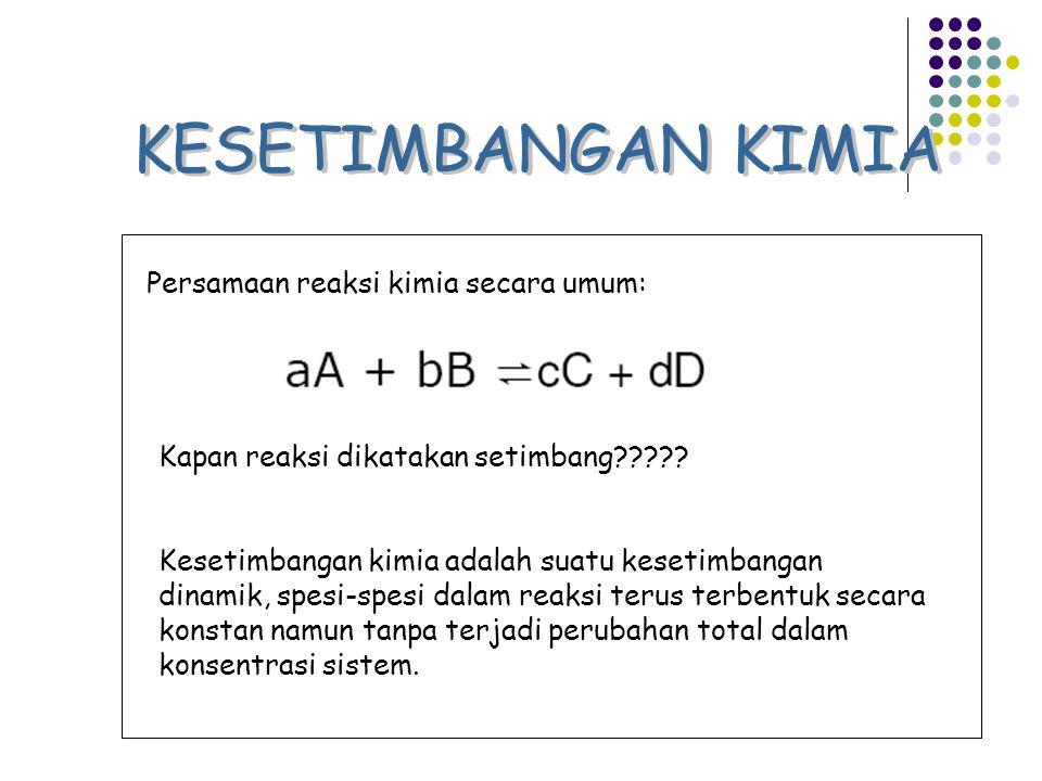 KESETIMBANGAN KIMIA Persamaan reaksi kimia secara umum: