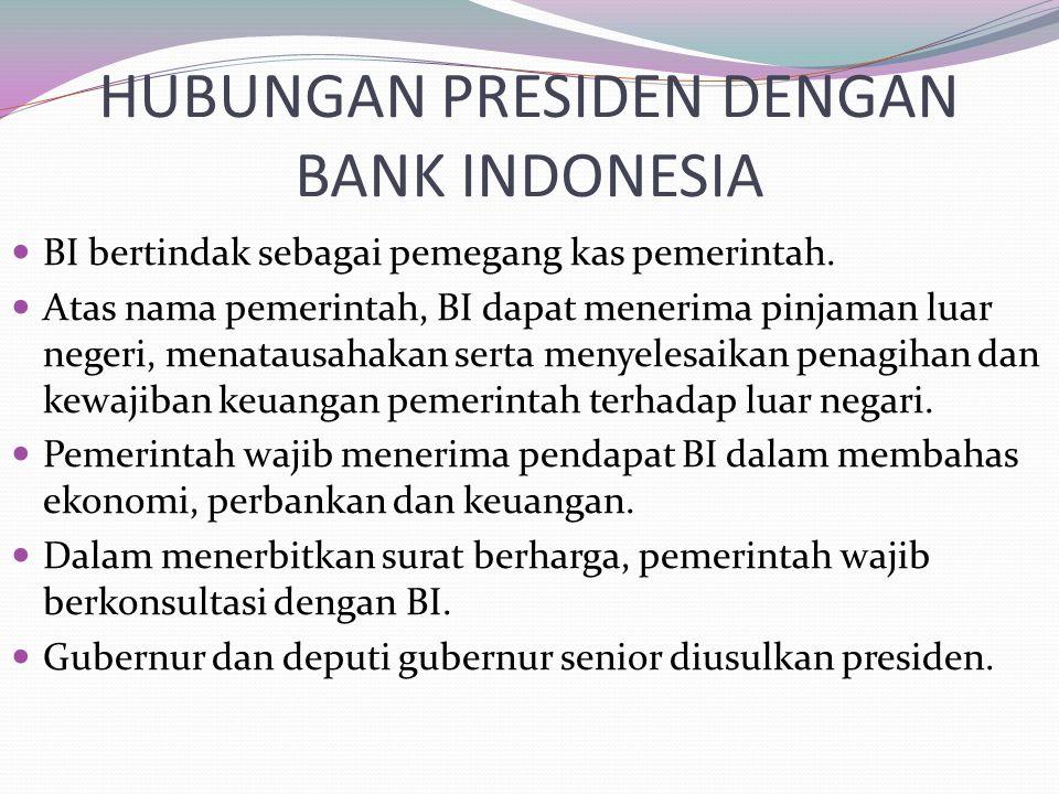HUBUNGAN PRESIDEN DENGAN BANK INDONESIA
