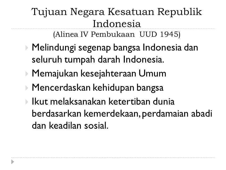 Tujuan Negara Kesatuan Republik Indonesia (Alinea IV Pembukaan UUD 1945)