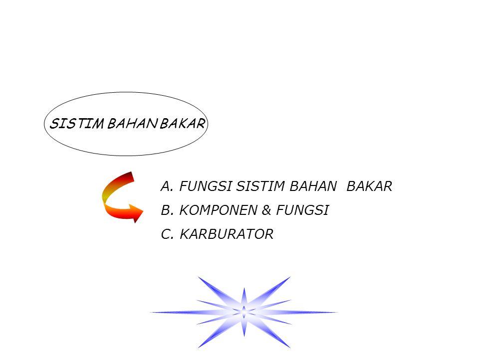 SISTIM BAHAN BAKAR A. FUNGSI SISTIM BAHAN BAKAR B. KOMPONEN & FUNGSI C. KARBURATOR