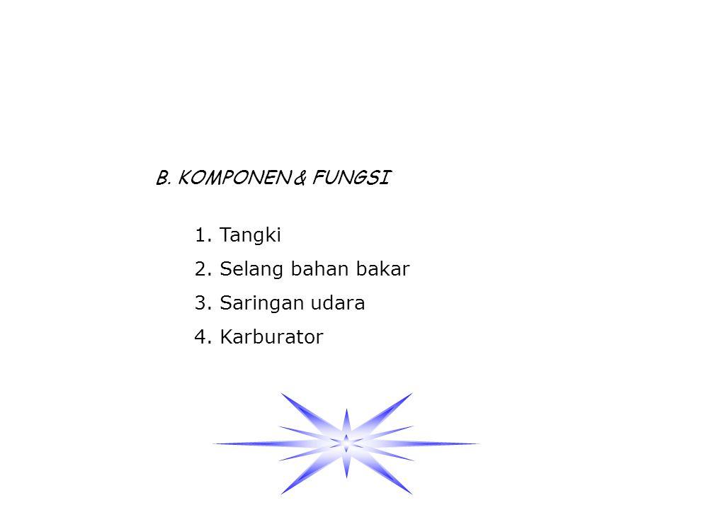 B. KOMPONEN & FUNGSI 1. Tangki 2. Selang bahan bakar 3. Saringan udara 4. Karburator