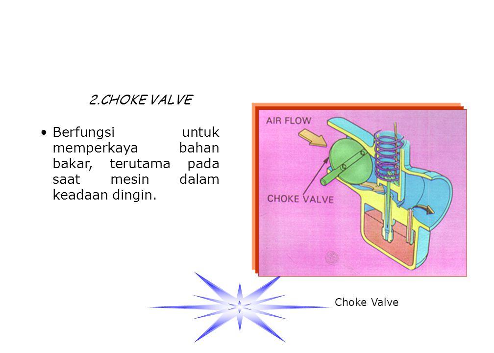 2.CHOKE VALVE Berfungsi untuk memperkaya bahan bakar, terutama pada saat mesin dalam keadaan dingin.